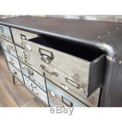Coffre Antique Vintage Industriel D'unité De Buffet De Placard De Cabinet De 11 Tiroirs
