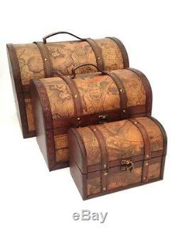 Coffre Au Trésor Pirate Vintage Carte Coloniale Atlas Design Coffre De Rangement De Mariage