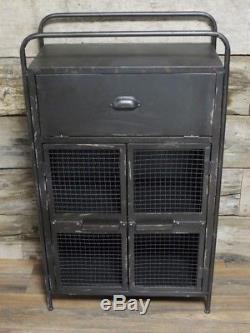 Coffre Vintage Industriel D'affichage De Stockage De Chevet De Tiroirs 104cm
