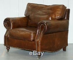 Confortable Fauteuil Timothy Oulton Balmoral Halo Heritage Vintage En Cuir Marron