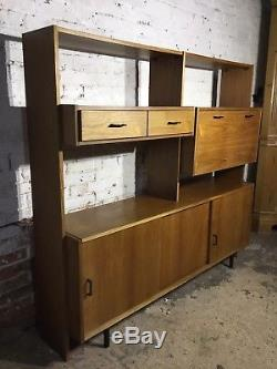 Console Vintage Vintage MID Century Drawers Bibliothèque Armoire Poignées Noires