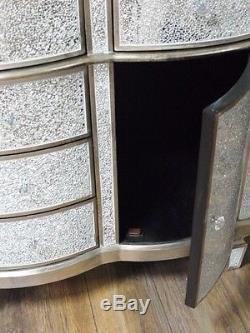 Crackle Cabinet 2 Portes 5 Tiroirs Argent Mosaïque Rangement Armoire Enfilade