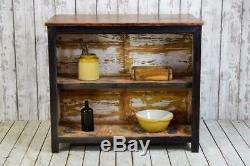 Cuisine Industrielle En Bois Vintage Île Armoire Cabinet Tiroirs Boutique Comptoir