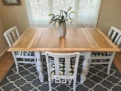 En Chêne Massif Vintage Gris Extension Table À Manger 4 Chaises Gris-up Cycled Peint