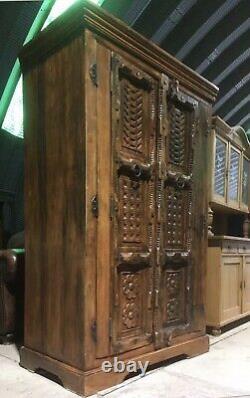 Énorme Vintage Vendu Bois Sheesham Style Indien Plateau Orné