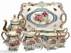 Ensemble À Thé En Porcelaine De 12 Pièces Euro Floral & Bleu, Vintage Service For 6