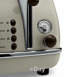 Ensemble D'appareils De Cuisine Retro Delonghi Icona Cream Kettle & Grille-pain 4 Tranches