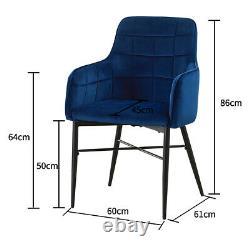 Ensemble De 2 Chaises À Manger De Luxe Velvet Blue Rembourré Seat Avec Armrest Home Lounge