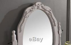 Ensemble De 3 Tiroirs De Miroir Ovale Avec Tabouret Rembourré De Style Gris