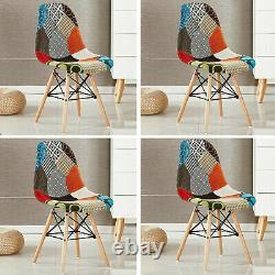 Ensemble De 4 Chaises À Manger En Tissu Tulip Patchwork Wood Legs Home Kitchen Dining Room
