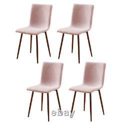 Ensemble De 4 Chaises À Manger Roses Tissu Rembourré Seat Metal Legs Home Office Lounge Bn