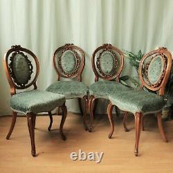 Ensemble De 4 Chaises À Manger Vintage En Noyer Rembourré De Style Français