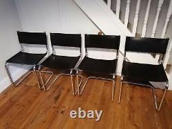 Ensemble De 4 Chaises Vintage Habitat Chrome Et Leather Cantilever Marcel Breuer