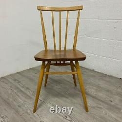 Ensemble De 4 Ercol Model 391 All Purpose Elm And Beech Dining Kitchen Chairs Vintage