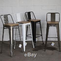 Ensemble De 4 Tabouret De Bar En Métal Industriel Petit Déjeuner Cuisine Bistro Café Vintage Rustique