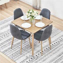 Ensemble De Salle À Manger Table Et 4 Chaises Rétro Gris Foncé Lin Chair Fabric Cuisine Accueil