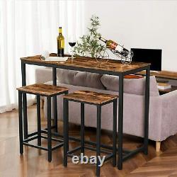 Ensemble De Table De Bar Hoobro, Table De Pub De Cuisine Et 2 Tabourets De Bar Table À Manger Pour Le Petit-déjeuner