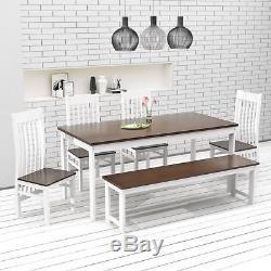 Ensemble De Table Et Chaises De Salle À Manger En Pin Foncé Et Blanc Avec Table À Rallonge Prolongée