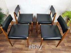Ensemble X 4 Vintage 60's Teak & Black Vinyl Dining Chairs Mid-century Danish Scandi