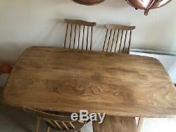 Ercol Elm Vintage Table À Manger Et 4 Chaises