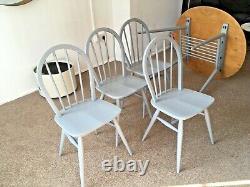 Ercol Ovale Elm Petit Déjeuner Table Rare 396 Modèle Et 4 Chaises Vintage Livraison Repas