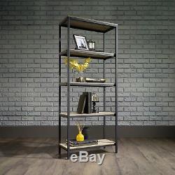 Étagère De Style Industriel En Chêne Noir Sonoma Avec Étagère De Bibliothèque À 5 Niveaux