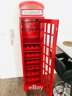 Exclusif Cabine Téléphonique Wine Rack 28 Bouteilles De Stockage Porte Verres Cabinet