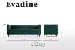 Fabriqué. Com Canapé 3 Places Evadine Seafoam Blue Velvet Pvc 599 €