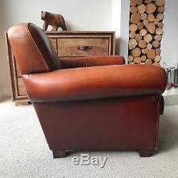 Fauteuil Et Repose-pieds En Cuir De Style Vintage, Chaise Club En Cuir De Style Vintage