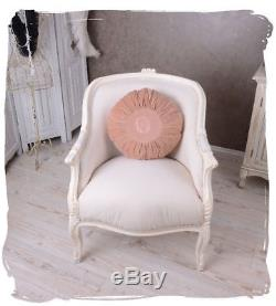 Fauteuil Vintage Chaise Shabby Chic Blanc Antique Nostalgique Français