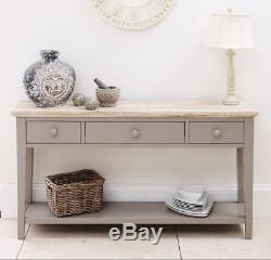Florence Dove Grey Console Table, Console De Cuisine Couloir Table, 3 Tiroirs, Étagère