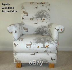 Fryetts Vintage Patchwork Tissu Chaise Adulte Rose Fauteuil Spot Bleu Pépinière New