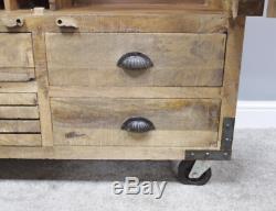 Garde-manger En Bois Massif Cuisine Rustique Cabinet Vintage Entreposage Industriel Grand Larder
