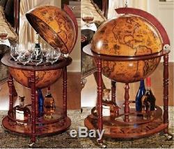 Globe Wine Bar Cabinet Boissons Conteneur Bouteille De Stockage Vintage En Bois Massif Rétro