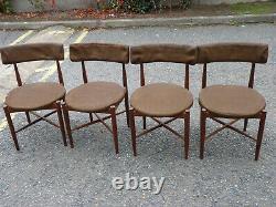 Gplan Fresco Solide Teck Extending Table À Manger Et 4 Chaises Vintage Retro Brown