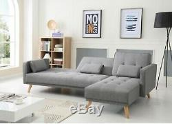 Grand Angle Canapé-lit 4 Places Tissu Gris Canapé En Forme De L Canapé Chaise Inclinable