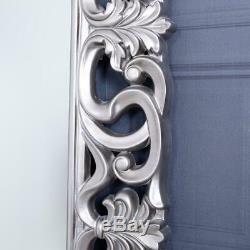 Grand Argent Miroir Cadrage Mur Ornement Chambre Hall D'entrée 167 X 91cm Accueil