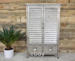 Grand Cabinet Industriel Vintage Retro Cupboard 2 Door Storage Rustic Metal Shelf