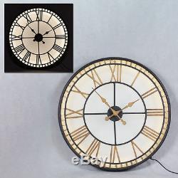 Grand Horloge Murale Westminster En Verre Noir Et Or Arrière 81 CM Diamètre