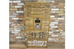 Grand Meuble Multi-tiroirs En Bois / Coffre, Aspect Vintage / Rangement Rustique / Bureau