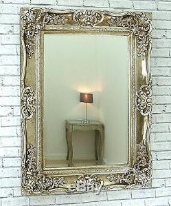 Grand Miroir Amore Shabby Chic Vintage Orné Champagne Argent 47 X 35