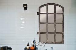 Grand Miroir De Bar À Fenêtre En Fonte Industrielle Ancienne