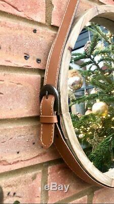 Grand Miroir En Bois Porthole Profond Cadre 3d Ronde Éponte Bracelet Boucle 35cm
