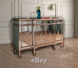Grand Mirrored Meubles En Verre Bahut Vintage Cabinet Antique Cuisine Unité