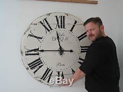 Grand Vintage Regardant L'horloge Murale Belle Epoque 99cm Dans Le Diamètre 6a1k