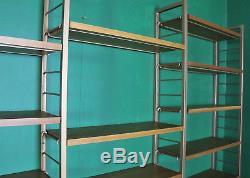 Grande Étagère Vintage Ladderax, 5 Baies, En Teck, Échelles En Métal Doré, Bibliothèque