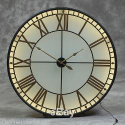Grande Horloge Murale Westminster En Verre Noir Et Or Éclairé, Diamètre 120 CM