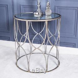 Grande Lampe De Table En Métal Avec Miroir Argenté, Couloir Vintage, Salon