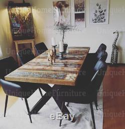 Grande Salle À Manger Industrielle Table Vintage Retro Meubles En Métal Rustique En Bois Massif