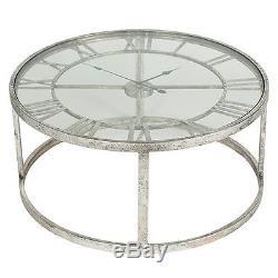 Grande Table D'horloge Squelette En Verre Ronde En Métal Shabby Vintage Chic Home Decor